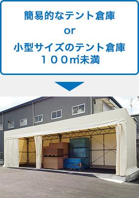 簡易的なテント倉庫小型サイズのテント倉庫100平方メートル未満